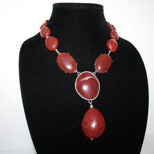 Vintagejelyfish Jewelry - Beautiful silver and red stone bib necklace